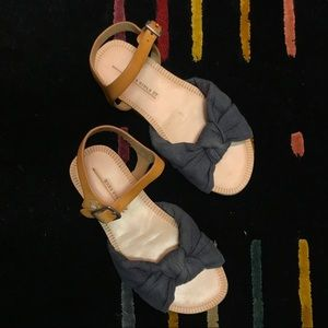 Zara girls navy fabric & leather sandals size 27